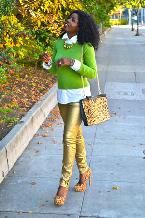 gold Zara pants - chartreuse Jcrew sweater - white Jcrew shirt