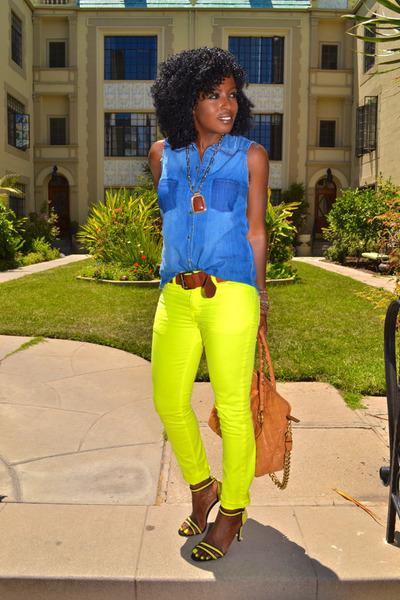 yellow neon jeans - blue Sleeveless Denim shirt