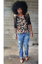 black balmain inspired blazer - blue boyfriend jeans - black floral shirt