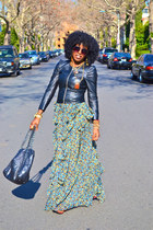 olive green ruffle maxi dress - black puff sleeve leather jacket