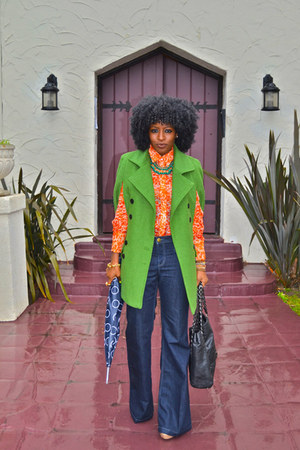 chartreuse romwe cape - blue Level99 jeans - orange ADAM shirt
