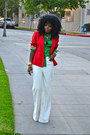 White-american-apparel-jeans-red-zara-blazer-chartreuse-jcrew-shirt