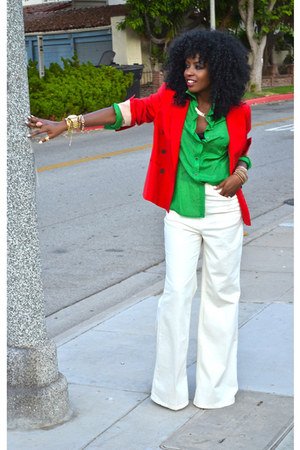 white American Apparel jeans - red Zara blazer - chartreuse Jcrew shirt