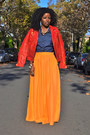 Red-zara-jacket-blue-banana-republic-shirt-carrot-orange-zara-skirt