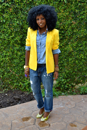 yellow vintage blazer - blue denim shirt