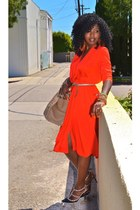 red Vintage wrap dress - camel Celine bag - black Valentino pumps