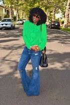 lime green American Apparel shirt - blue Seven jeans - black Fendi bag