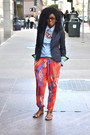 Navy-jcrew-blazer-blue-denim-ralph-lauren-shirt-red-tribal-harem-zara-pants