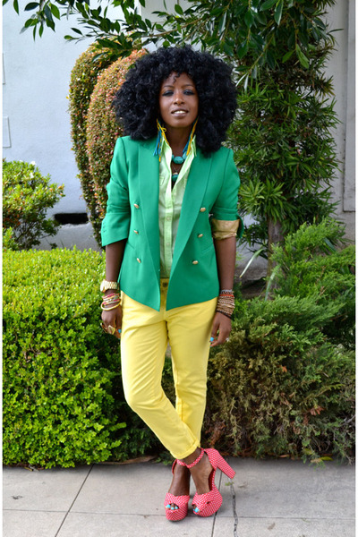 green double breasted blazer - chartreuse sheer shirt - yellow Pegged pants - ru