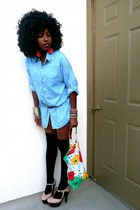 sky blue denim shirt - navy denim shorts - black Thigh high socks