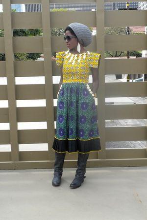gray Topman hat - yellow KemKem Studio dress - black Roady boots shoes