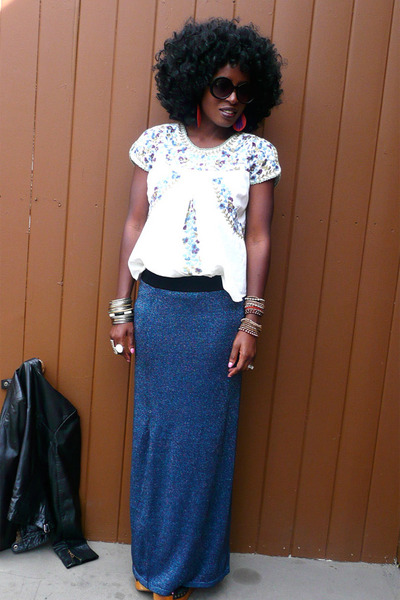 off white Anthropologie blouse - navy maxi skirt