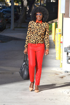 red Zara jeans - tawny leopard print romwe shirt - nude Zara heels