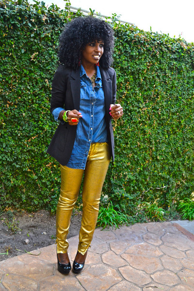 gold Gold Biker pants - black boyfriend blazer - blue denim shirt