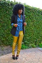gold Gold Biker pants - black boyfriend blazer - blue denim shirt