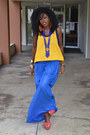 Yellow-vintage-gym-t-shirt-blue-sheer-diy-skirt-red-polka-dot-clogs