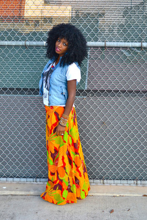 white H&M t-shirt - sky blue denim H&M vest - carrot orange mazi DIY skirt