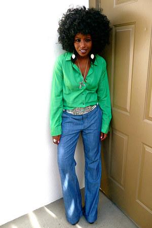 chartreuse Jcrew shirt - blue vintage pants