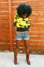 Yellow-mango-blouse-blue-paper-denim-cloth-shorts-brown-swap-meet-boots