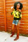 Yellow-mango-blouse-blue-paper-denim-cloth-shorts-brown-swap-meet-boots
