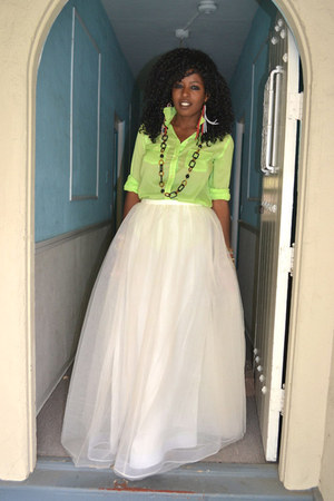 chartreuse Ralph Lauren shirt - white Jcrew Tulle skirt