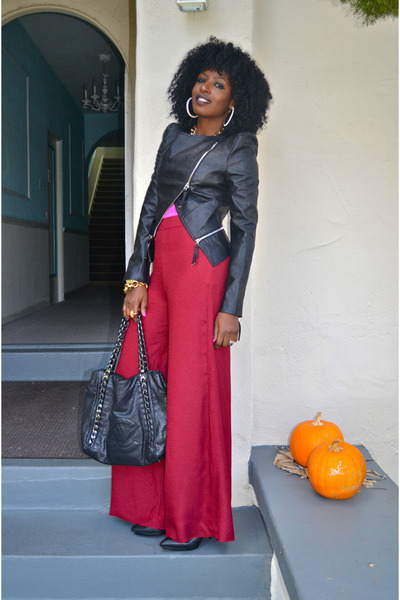 bubble gum Zara blouse - black Tov Leather jacket - red Wide Leg pants