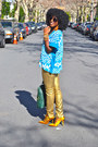 Sky-blue-aztec-print-top-green-ysl-bag-gold-jcrew-pumps-gold-zara-pants