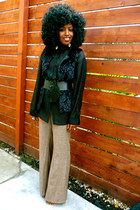 black H&M shirt - black Faux fur vest - brown gsus panties