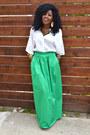 Yellow-vintage-blazer-white-kimono-blouse-chartreuse-maxi-skirt