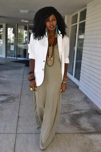 dark khaki sheer maxi dress - white mens blazer - bronze leopard print pumps