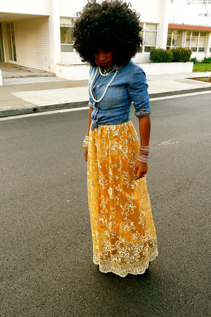 blue denim shirt - gold Style Pantry dress