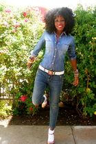 blue Mossimo shirt - blue Juicy Couture jeans - pink Miu Miu shoes