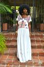 White-aztec-blouse-maroon-aztec-blouse-white-maxi-skirt