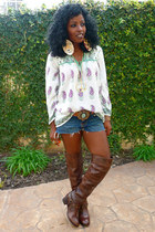 white vintage blouse - navy True Religion DIY shorts