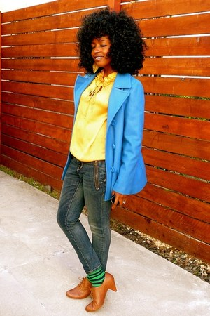 blue Jcrew jacket - mustard vintage blouse - blue Juicy Couture jeans