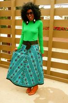 brown Urban Outfitters boots - blue beaded vintage skirt - green Jcrew top