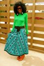 Green-jcrew-top-blue-beaded-vintage-skirt-brown-urban-outfitters-boots