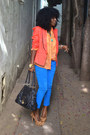 Blue-zara-jeans-carrot-orange-tuxedo-blazer-light-orange-zara-shirt