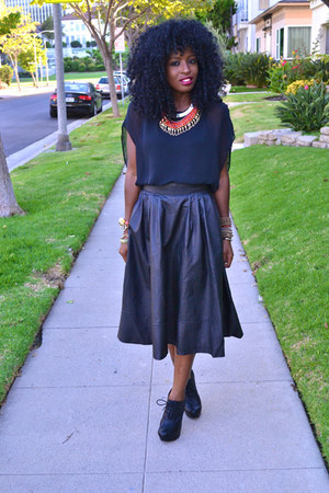 black leather H&M skirt - black chiffon American Apparel blouse