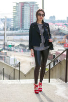 black faux leather Wilfred Free leggings - navy motorcycle HRH Collection jacket