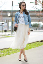 ivory tulle Ruche skirt - light blue denim H&M jacket - black Chanel bag