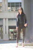black leather sleeve H&M blazer - black faux leather H&M top