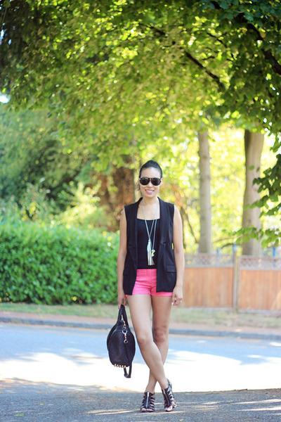 black rose gold rocco Alexander Wang bag - hot pink coated H&M shorts
