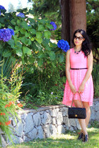 hot pink lace H&M dress - black Chanel bag