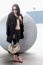 black military TBabaton coat - camel Old Navy sweater - tan Burberry bag