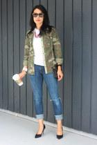 army green camouflage Zara shirt - blue boyfriend Levis jeans