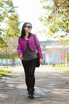 silver olive  piper necklace - magenta H&M jacket