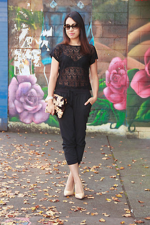 black lace HRH Collection top - black track Old Navy pants