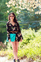 black floral Urban Outfitters romper - turquoise blue clutch asos bag