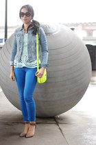 light blue denim H&M jacket - blue rockstar skinny Old Navy jeans